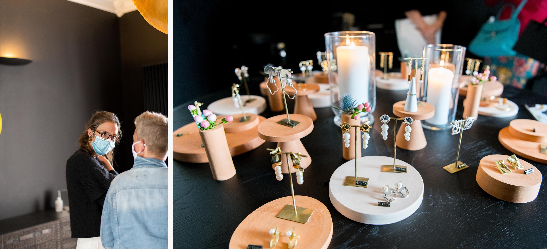 Juwelenontwerpster Manon Barelli op het openingsweekend van Studio Spruyt